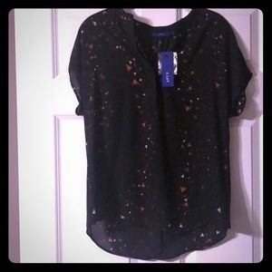 Apt 9 black bee print popover blouse top sz S. NWT